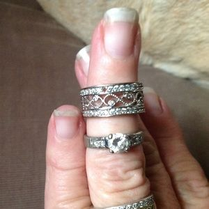 Silver CZ solitaire & band